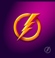 flash lightning bolt with circle electric energy vector image