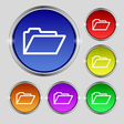 Folder icon sign Round symbol on bright colourful vector image vector image