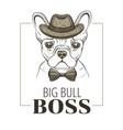 french bulldog boss dog t-shirt print design vector image