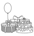gift box with sweet cake and balloon helium vector image