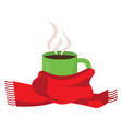 hot coffee in cup with scarf vector image vector image