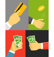 Human hand with cash and golden card vector image vector image