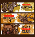 hunting sport hunter club banner with wild animal vector image vector image