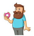 man with a donut vector image vector image