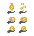 money hold icon vector image vector image