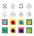 new year toys outlineflat icons in set collection vector image vector image