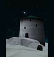 night landscape with ancient tower and fortress vector image vector image
