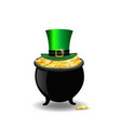 pot full of golden coins and green hat isolated vector image