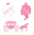 profile silhouette a princess and carriage vector image vector image