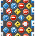 realistic detailed 3d road sign seamless pattern vector image vector image