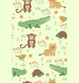 seamless pattern with cute tropical animals vector image