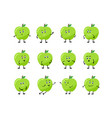 set cartoon character apple with different vector image