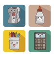set character supplies school icon vector image vector image
