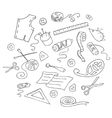 Sketch of sewing tools vector image