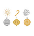 traditional christmas set of decorations on white vector image