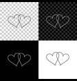 two linked hearts icon isolated on black white vector image vector image
