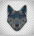 wolf poster in ethnic boho style vector image