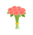 wonderful bouquet of pink roses tied with yellow vector image vector image
