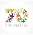 70 anniversary folk logo vector image vector image