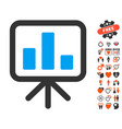 bar chart display icon with lovely bonus vector image vector image