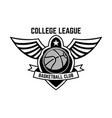 basketball sport emblem with wings design element vector image vector image