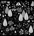 black and white pattern with birds flowers and vector image vector image