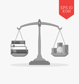 Books and coins on scales icon Knowledge is wealth vector image vector image