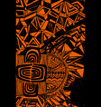 bright ethnic pattern black outline on an orange vector image