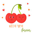 bright poster with cute couple sweet cherry vector image vector image