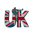 businessman overcomes the border uk word flag vector image vector image