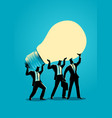 businessmen lifting up a light bulb together vector image vector image