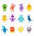 Cartoon cute color monsters aliens set vector image vector image