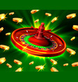 casino roulette big win coins background vector image vector image