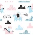 childish seamless pattern with cute girls clouds vector image vector image