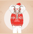 christmas hipster fashion animal elephant vector image vector image