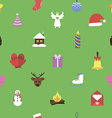 Christmas symbols on green vector image