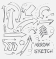 Collection of sketch arrows hand-drawn on a white vector image vector image
