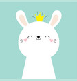 cute bunny rabbit face head icon kawaii hare vector image vector image