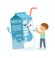 cute little boy and funny milk carton box with vector image