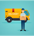 delivery man and track flat design modern vector image