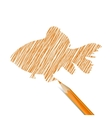 Fish drawn with pencil vector image