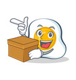 fried egg character cartoon with box vector image vector image