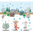 girls and snowfall vector image vector image