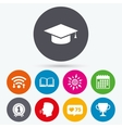Graduation icons Education book symbol vector image vector image