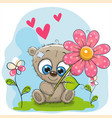 greeting card bear with flower and hearts vector image vector image