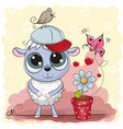 greeting card cute sheep with flower vector image vector image