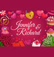 groom and bride names wedding day symbols love vector image vector image