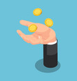 isometric businessman throwing up coin on his hand vector image vector image