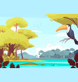 jungle landscape cartoon vector image vector image