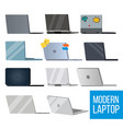 laptop set modern office laptop monitors vector image